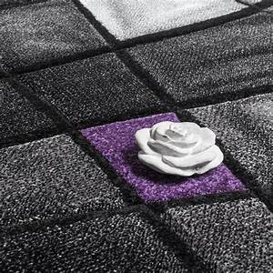 Teppich Grau Lila : designer teppich modern kariert konturenschnitt grau lila ~ Whattoseeinmadrid.com Haus und Dekorationen