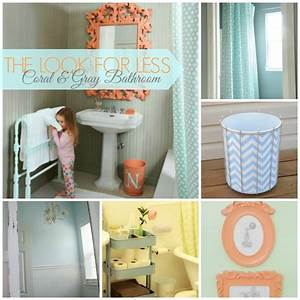 5 ways to get this look coral and gray bathroom ideas for Aqua and coral bathroom