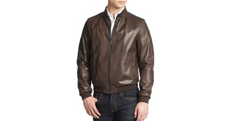 Ferragamo Reversible Leather Bomber Jacket In Brown For