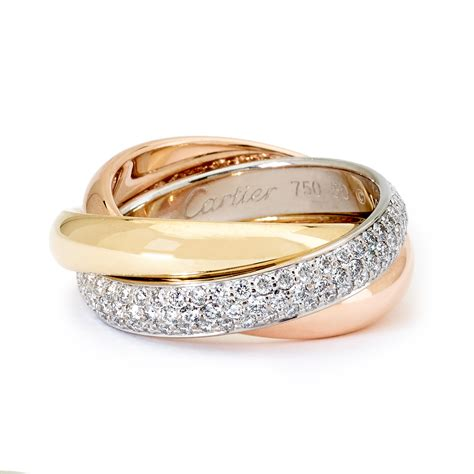 color ring cartier de cartier tri color gold rolling ring
