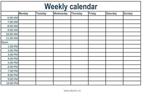 weekly calendar  time slots
