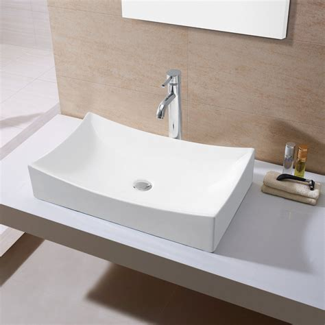 kes bathroom sink vessel sink porcelain  rectangular