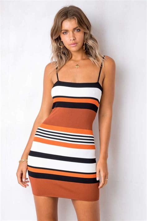 Stripe Twist twist and shout dress orange black stripe stelly