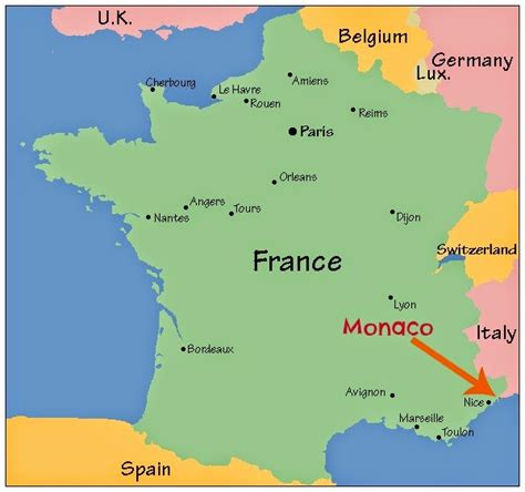 monaco  map  europe  travel information