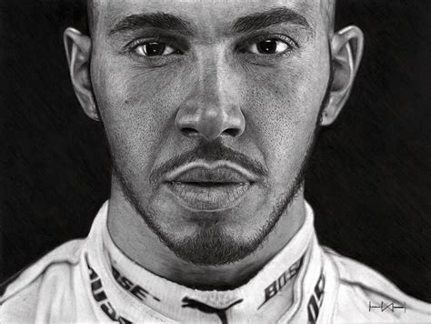 lewis hamilton portrait  officially signed