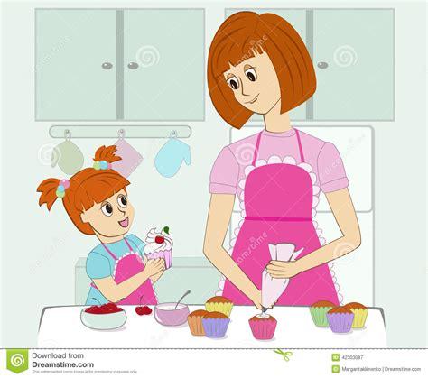 enfantez et sa fille faisant cuire dans la cuisine illustration de vecteur image 42303087