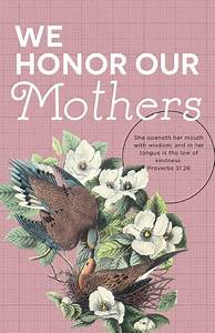 church bulletin 11 quot mothers day we honor pack of 100