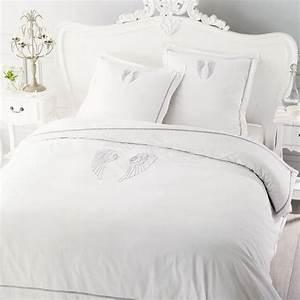 Parure De Lit Cocooning : parure de lit 220 x 240 cm en coton blanche ange maisons du monde ~ Teatrodelosmanantiales.com Idées de Décoration