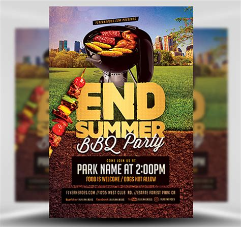 summer bbq party flyer template flyerheroes