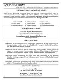 resume for back to work accounting specialist resume