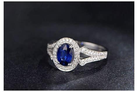 vintage  carat blue sapphire  diamond halo engagement ring  women jeenjewels
