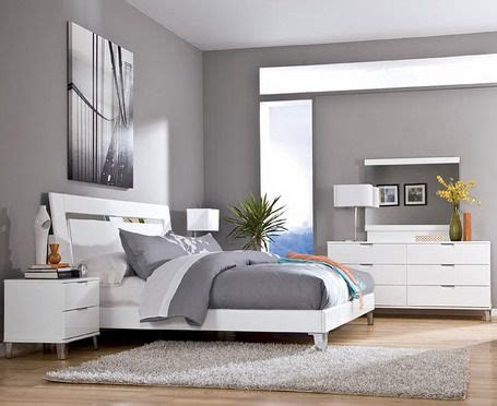 modern bedroom colour schemes grey wall color scheme and white bedding sets in modern 16236 | 76d958702840638d2cef2323a1e8a2da
