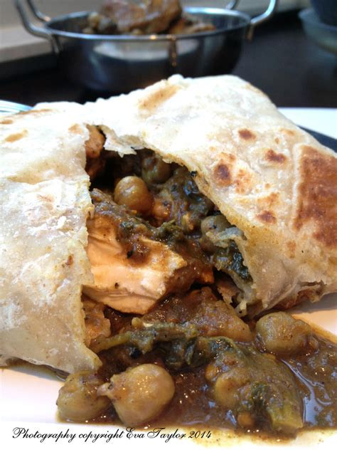 Trinidad Chicken Roti with Curry