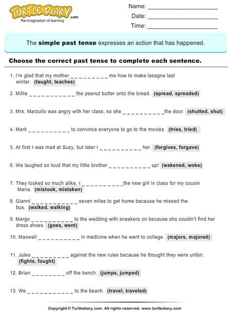 read sentences  choose correct  tense verb