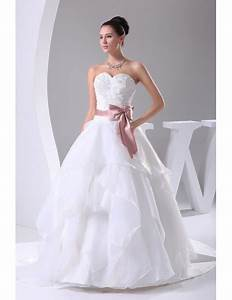 Sweetheart Ballgown Ruffled Wedding Dress White With Pink
