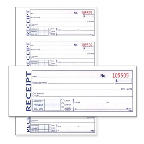 money rent receipt book 11 quot length x 7 62 quot width