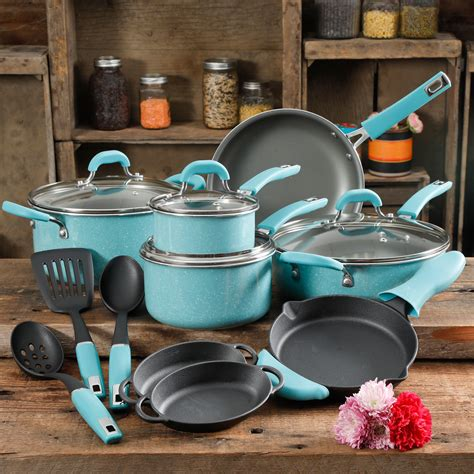 pioneer woman vintage speckle turquoise cookware set  piece walmart inventory checker