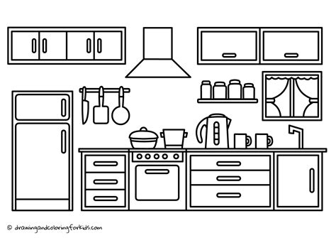 coloring page kitchen drawing kitchen cabinets kitchen