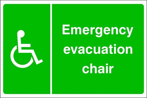 emergency evacuation chair disabled symbol on the left