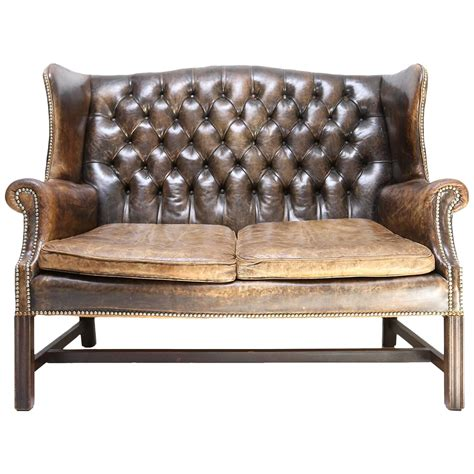 tufted chesterfield sofa chesterfield wingback tufted leather sofa at 1stdibs