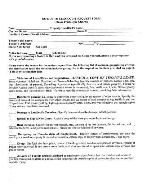 nj notice to quit form new jersey rent and lease template free templates in pdf