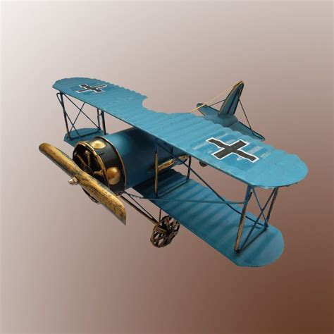 vintage tin wwii fighter airplane dusty plane model