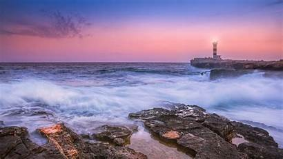 Lighthouse Sunset Sea Spain 4k Waves Surf