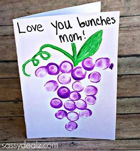 """Love You Bunches"" Kids Thumbprint Grapes Card - Sassy ..."