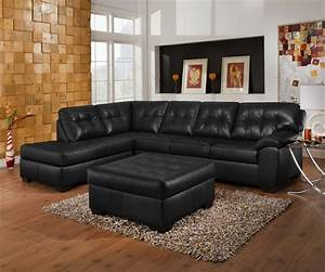 Soho contemporary onyx leather sectional sofa w left chaise for Simmons sectional sofa with chaise