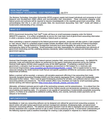 cost proposal template   word excel  format
