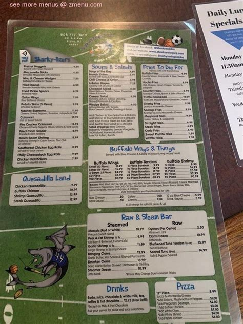 menu  sharkys wings raw bar restaurant
