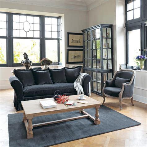 fauteuil en velours anthracite montpensier maisons du monde