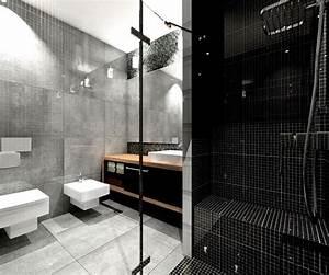 salle de bain noir et blanc ou en tons contrastes en 40 idees With salle de bain mosaique noir