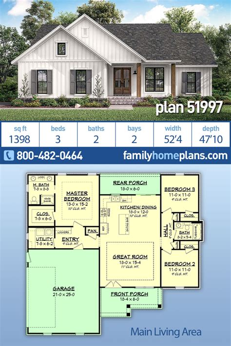 Traditional Style House Plan 51997 with 3 Bed 2 Bath 2