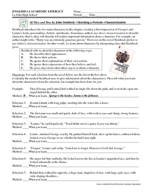 of mice and worksheet answers worksheets for all