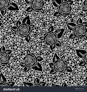 Beautiful Black White Seamless Pattern Roses Stock ...