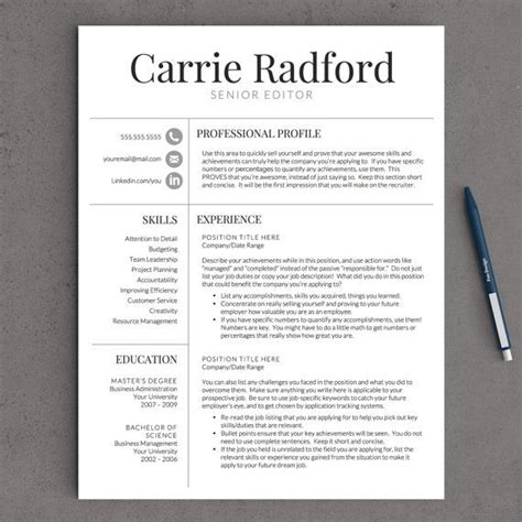 Professional Looking Resume by Professional Resume Template For Word Pages