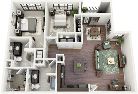 plan appartement 2 chambres idee plan3d appartement 2chambres 43