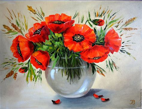 red poppies oil painting flowers   vase shop