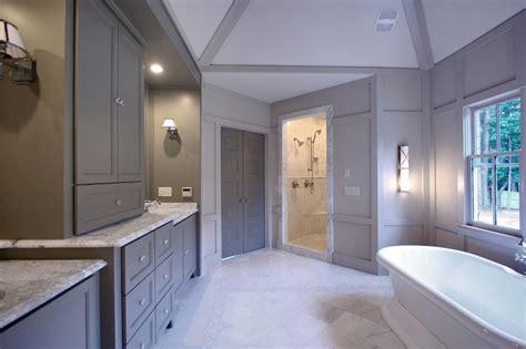 grey bathroom cabinets transitional bathroom