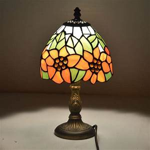 Tiffany, Small, Table, Lamp, Country, Sunflower, Stained, Glass, Bedside, Lamp, E27, 110, 240v