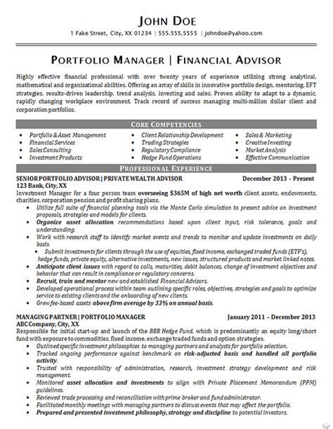 portfolio manager resume exle financial advisor