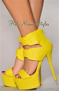 Neon Yellow Straps High Heel Sandals