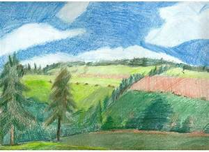 Country Landscape Colored Pencil Drawing by ...