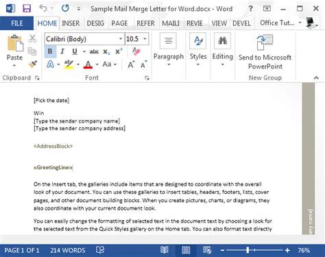 mailing letter format sample mail merge letter for word 23538 | Sample mail merge letter 580x460