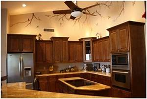 paint colors that go with dark kitchen cabinets With best brand of paint for kitchen cabinets with lighted wall art decor