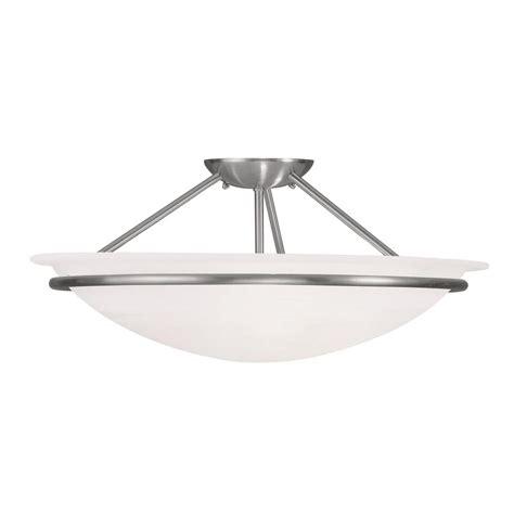 brushed nickel flush mount ceiling light livex lighting providence 3 light ceiling brushed nickel