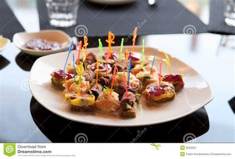 café canapé canapes in expensive restaurant stock photography image