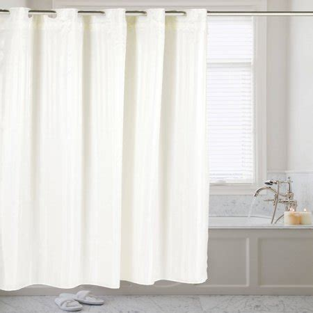 75 Shower Curtain by Hookless Fabric Dobby Stripe Shower Curtain With Snap