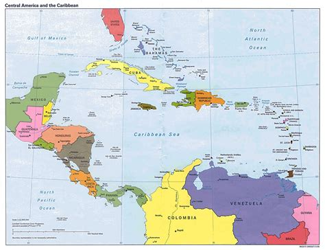 large detailed political map  central america
